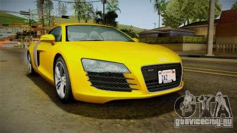 Audi R8 Coupe 4.2 FSI quattro EU-Spec 2008 Dirt для GTA San Andreas вид сзади слева