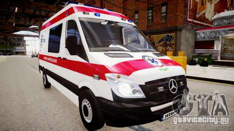 Hungarian Mercedes Sprinter Ambulance для GTA 4 вид справа
