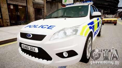 Ford Focus Estate '09 police UK для GTA 4 вид справа