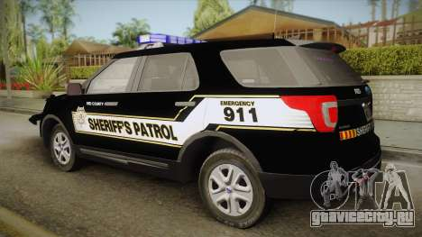 Ford Explorer 2016 Red County Sheriffs Office для GTA San Andreas вид слева
