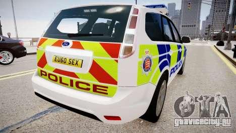 Ford Focus Estate '09 police UK для GTA 4 вид сзади слева