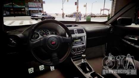 Subaru Impreza WRX STI Spec C Type RA-R 2007 для GTA 4 вид изнутри
