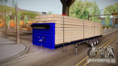 Flatbed Trailer Blue для GTA San Andreas вид сзади слева