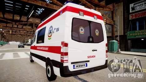 Hungarian Mercedes Sprinter Ambulance для GTA 4 вид сзади слева
