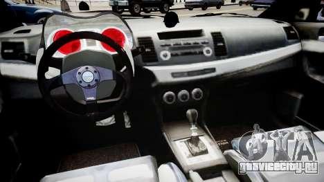Mitsubishi Lancer Evo X для GTA 4 вид изнутри
