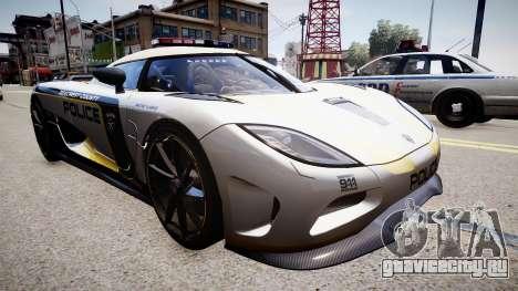 Koenigsegg Agera Police 2013 для GTA 4