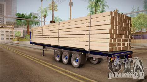 Flatbed Trailer Blue для GTA San Andreas вид слева