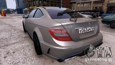 Mercedes-Benz C63 AMG 2012 v1.0 для GTA 4 вид сзади слева