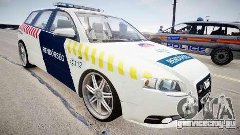 Hungarian Audi Police Car для GTA 4 вид справа