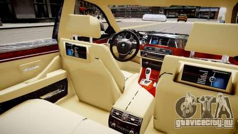 BMW 550i F10 v2 для GTA 4 вид изнутри