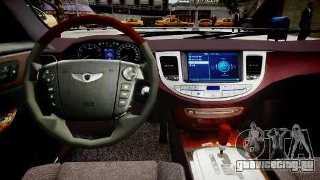 Hyundai Genesis 2008 для GTA 4 вид изнутри