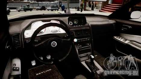 Nissan Skyline GT-R R34 для GTA 4 вид изнутри