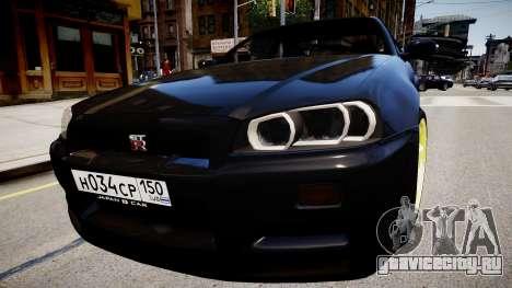 Nissan Skyline GT-R R34 для GTA 4 вид справа