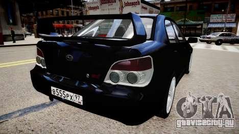 Subaru Impreza WRX STI Spec C Type RA-R 2007 для GTA 4 вид сзади слева