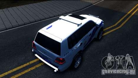 Toyota Land Cruiser Police для GTA San Andreas вид сзади