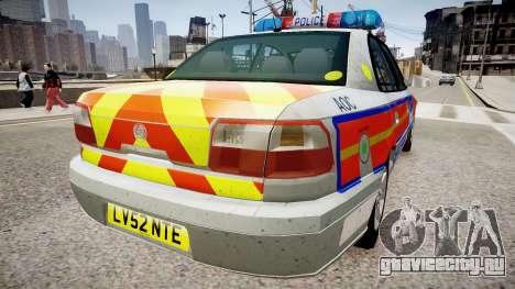 Met Police Vauxhall Omega для GTA 4 вид сзади слева