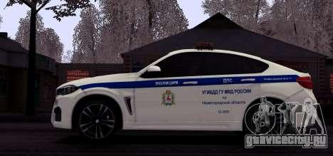 BMW X6M 2015 Russian Police для GTA San Andreas вид изнутри