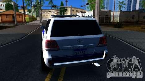 Toyota Land Cruiser Police для GTA San Andreas вид сзади слева