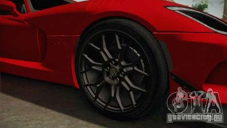 Dodge Viper ACR 2016 для GTA San Andreas вид сзади