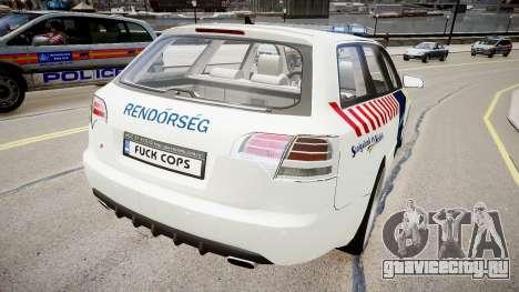 Hungarian Audi Police Car для GTA 4 вид сзади слева