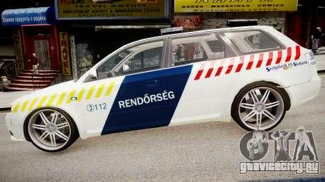 Hungarian Audi Police Car для GTA 4 вид слева