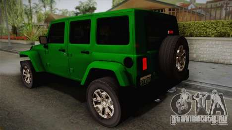 Jeep Wrangler Unlimited Rubicon 2013 для GTA San Andreas вид слева