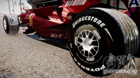 Formula 1 - LaFerrari F2007 для GTA 4 вид сзади