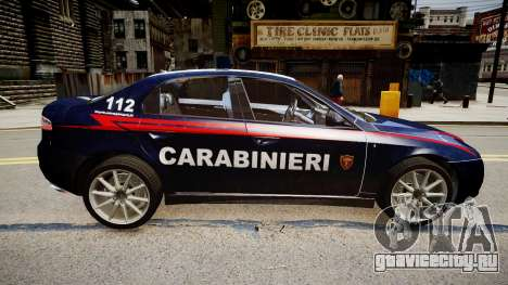 Alfa Romeo 159 Carabinieri для GTA 4 вид справа