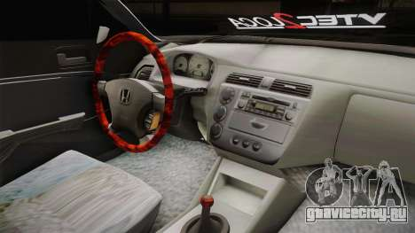 Honda Civic Vtec 2005 для GTA San Andreas вид изнутри