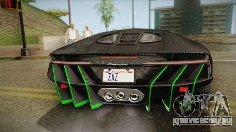 Lamborghini Centenario LP770-4 2017 Carbon Body для GTA San Andreas вид изнутри