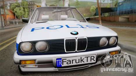 BMW 323i E30 Turkish Police для GTA San Andreas вид сзади слева