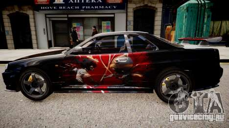 Nissan Skyline R34 Paintjob by eXTaron для GTA 4 вид слева