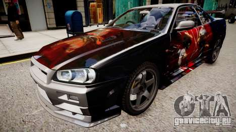 Nissan Skyline R34 Paintjob by eXTaron для GTA 4 вид справа