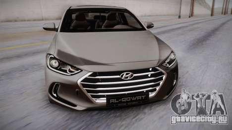 Hyundai Elantra 2017 для GTA San Andreas вид справа
