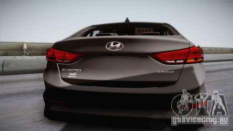 Hyundai Elantra 2017 для GTA San Andreas вид сзади