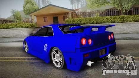 Nissan Skyline Lowpoly для GTA San Andreas вид изнутри