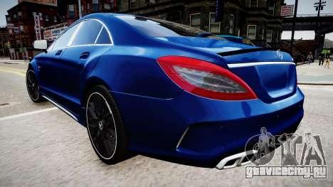 Mercedes-Benz CLS 63 AMG W218 2015 для GTA 4 вид сзади слева