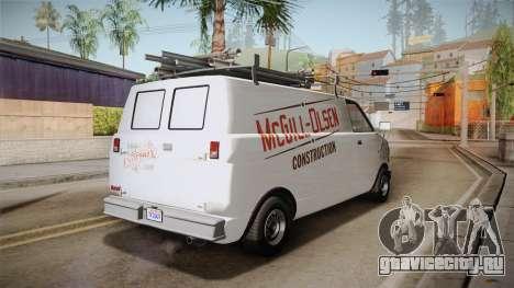 GTA 5 Declasse Burrito Commercial для GTA San Andreas вид справа