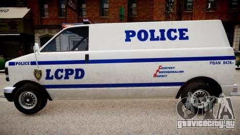 LCPD Declasse Burrito Police Transporter для GTA 4 вид справа