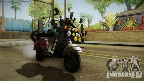 GTA 5 Pegassi Faggio Cool Tuning v4 для GTA San Andreas вид сзади слева