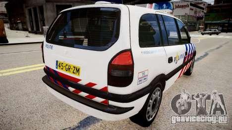 Opel Zafira Police для GTA 4 вид сзади слева