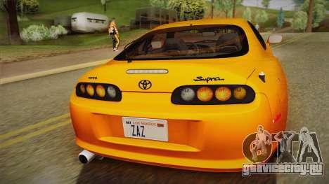 Toyota Supra US-Spec (JZA80) 1993 PJ для GTA San Andreas вид сзади слева