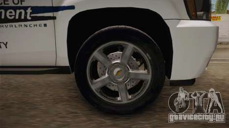 Chevrolet Avalanche 2008 Emergency Management для GTA San Andreas вид сзади