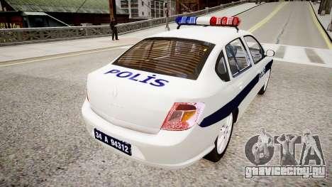 Renault Clio Symbol Police 2011 для GTA 4 вид сзади слева