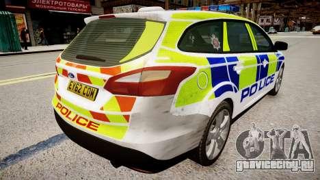 Ford Focus police UK для GTA 4 вид сзади слева