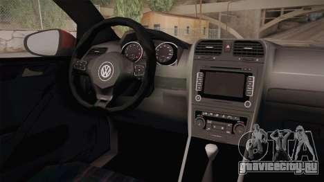 Volkswagen Golf 1.6 для GTA San Andreas вид изнутри