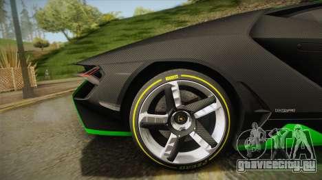 Lamborghini Centenario LP770-4 2017 Carbon Body для GTA San Andreas вид сзади слева
