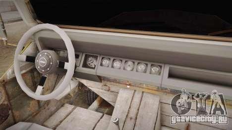 Jeep Wrangler Mad Max Style для GTA San Andreas вид изнутри