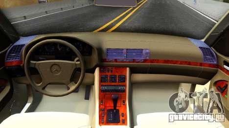 Mercedes-Benz W140 400SE для GTA San Andreas вид изнутри