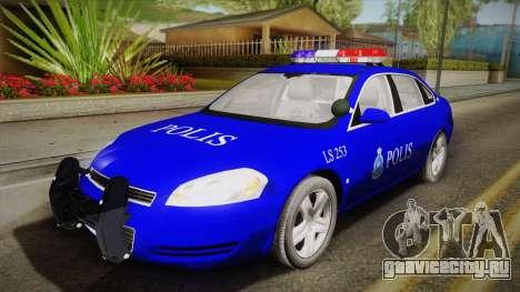 Chevrolet Impala Police Malaysia для GTA San Andreas вид изнутри